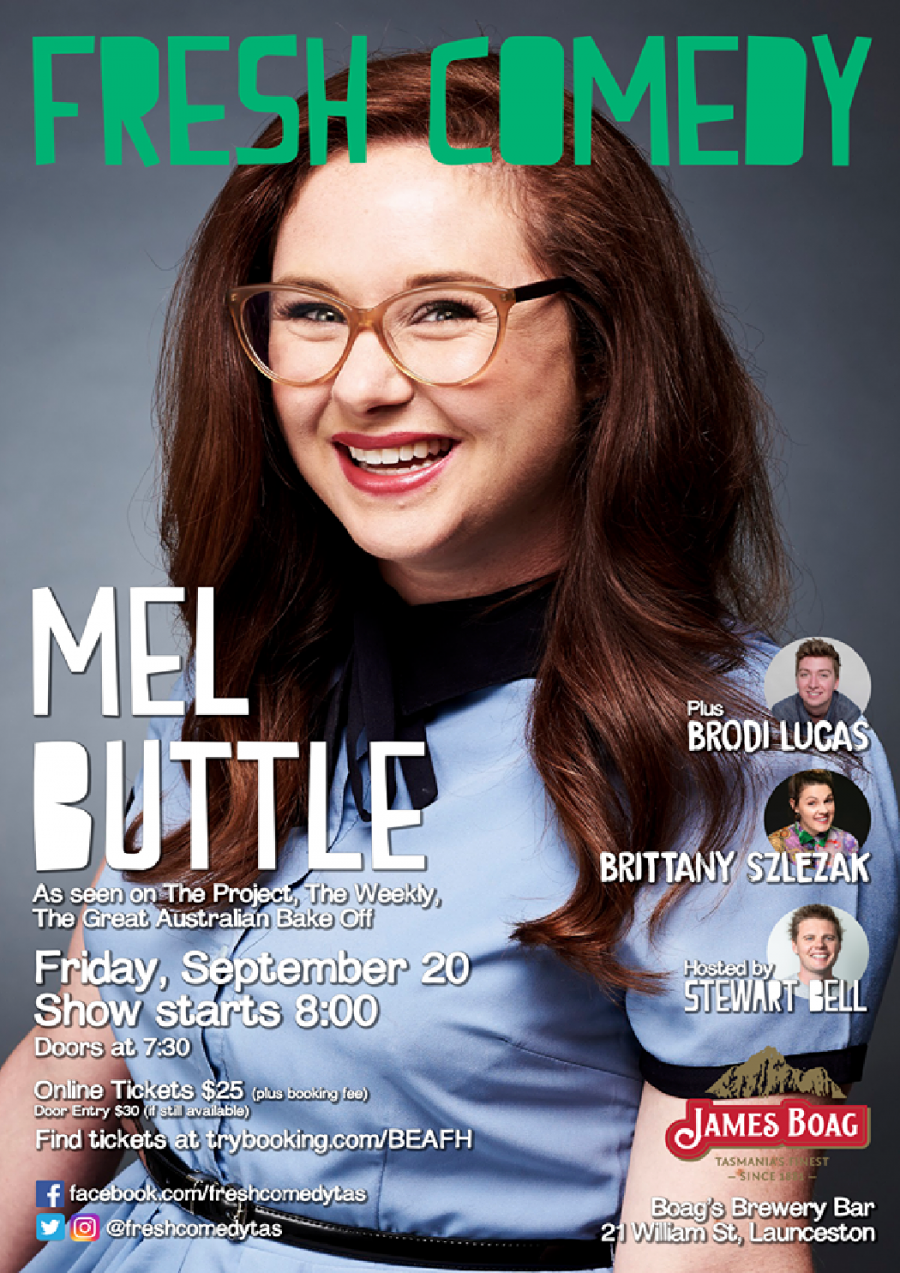 Fresh Comedy with Mel Buttle (The Project, The Weekly, The Gala) at Fresh Comedy