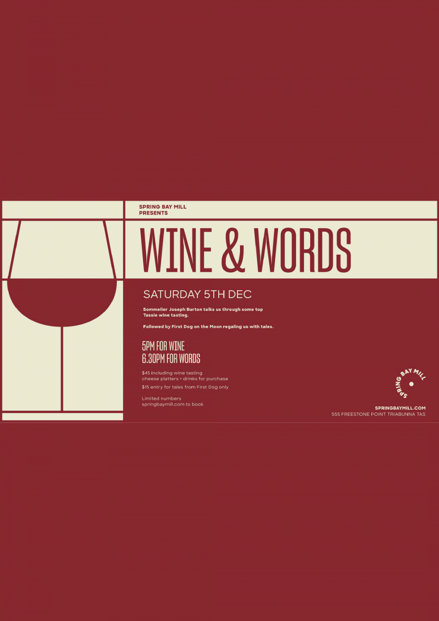 Wine and Words at spring bay mill